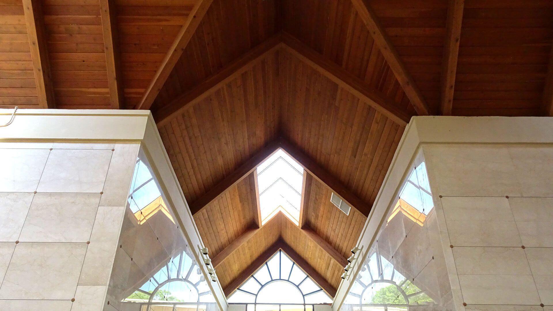 mausoleum high wooden cieling